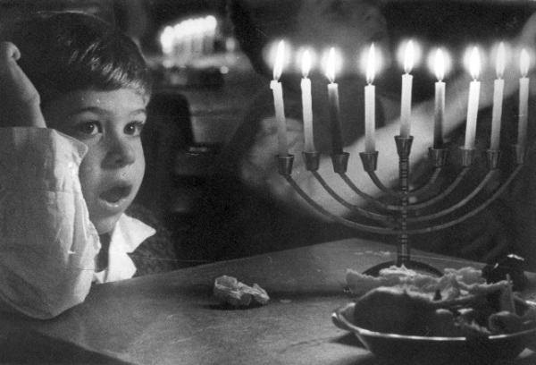 Chanukah boy and candles